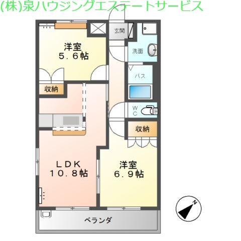 アシューレA 2階の物件の間取図
