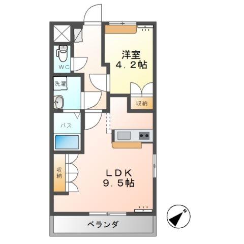 アシューレB 1階の物件の間取図