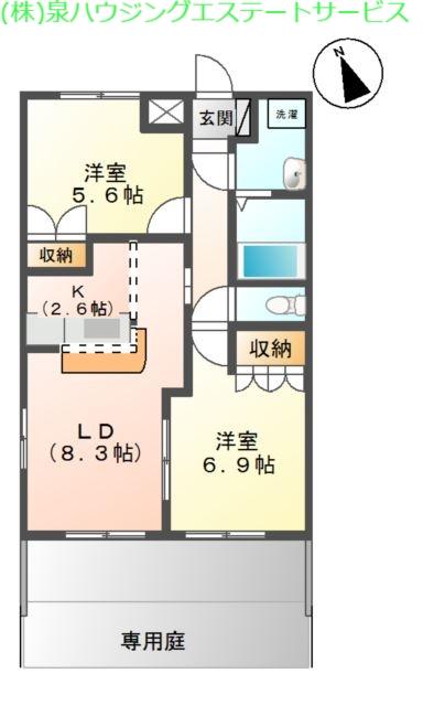 ふらわ~ガーデン・波崎B 1階の物件の間取図