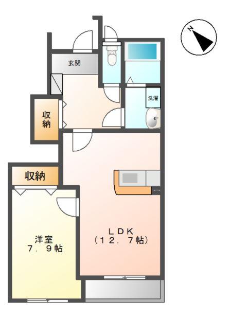ルミエールⅡ 1階の物件の間取図