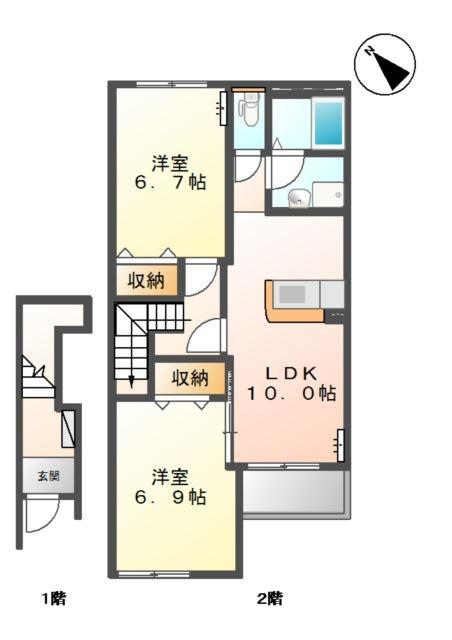 プレジール 2階の物件の間取図