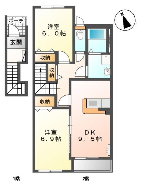 シャトー ボンヌールⅡ 2階の物件の間取図