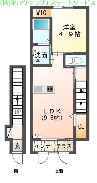hermana(エルマーナ) Ⅰ 2階の物件の間取図