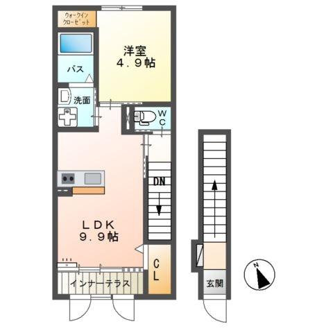 エスペランサ エスピーノ 2階の物件の間取図