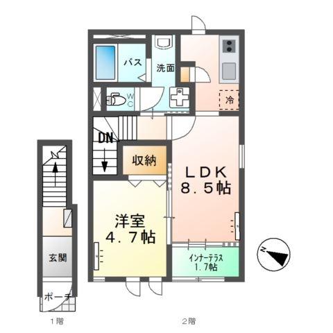 プルメリア 2階の物件の間取図