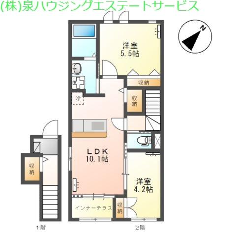 (仮称)神栖市土合西スターテラスⅡ 2階の物件の間取図