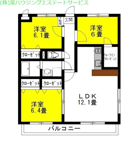 セントラル・フェスタⅣ 3階の物件の間取図