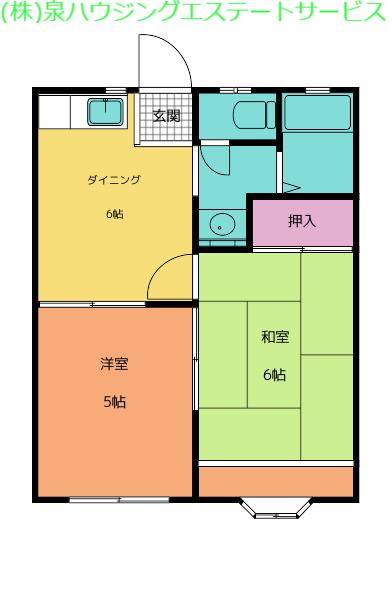 ヤングハウスC棟 1階の物件の間取図