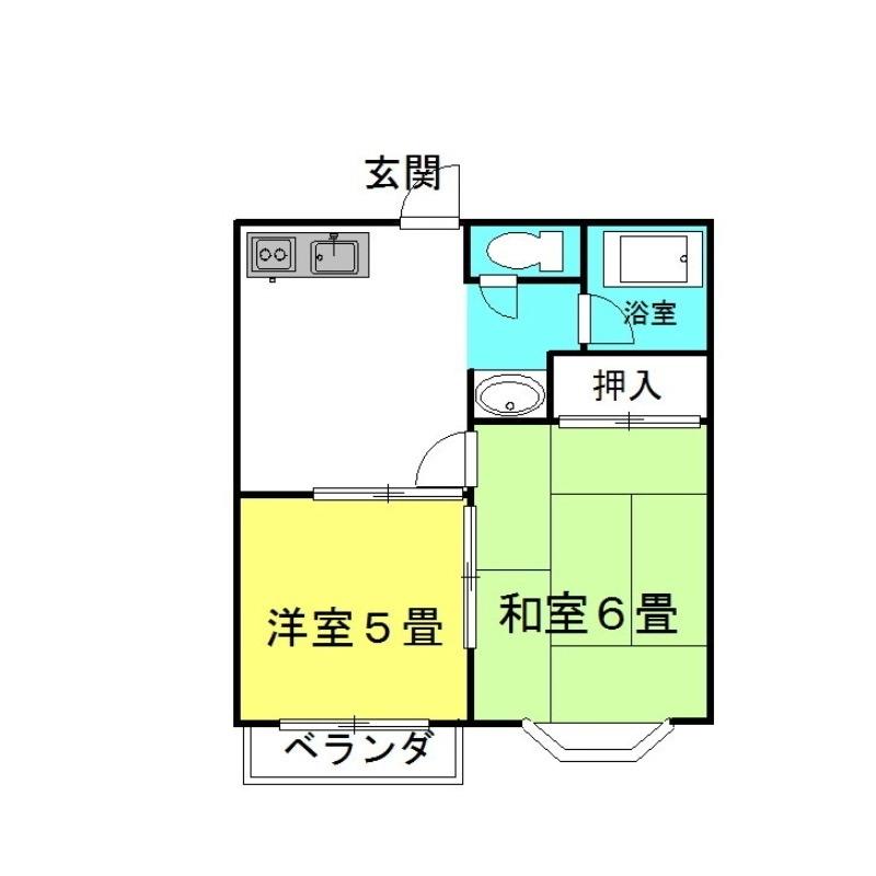 ヤングハウスD棟 2階の物件の間取図