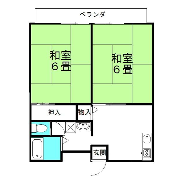パークハイツA棟 2階の物件の間取図
