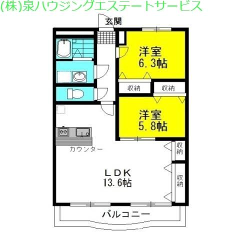 カーサ・ヴィアーレ 3階の物件の間取図