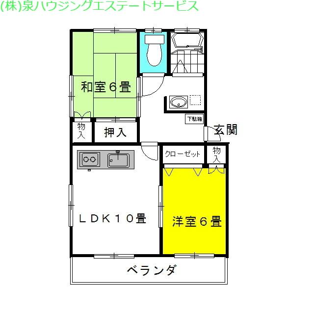 ヴィラ・神柳 2番館 2階の物件の間取図