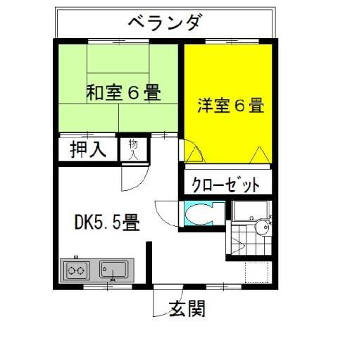 壱番館・飛龍 2階の物件の間取図