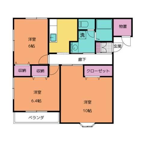 ラヴィ・アンローズ ロッソ 2階の物件の間取図