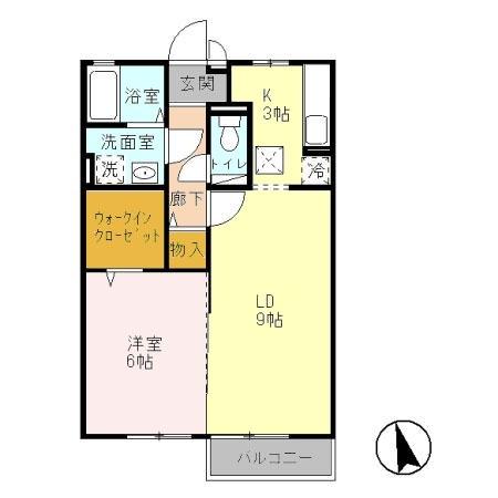 カサブランカ A 1階の物件の間取図