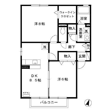 グランシャリオ D 2階の物件の間取図