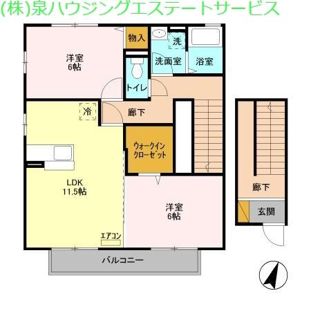 ポートスクエア B 2階の物件の間取図