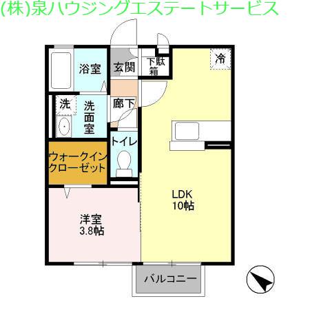 フラットフォンテーヌ 2階の物件の間取図