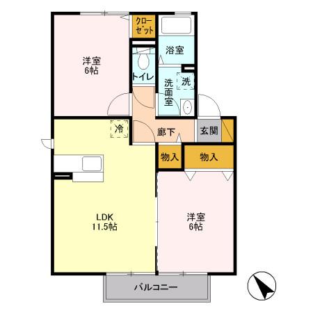 サンク・ルナ A 2階の物件の間取図