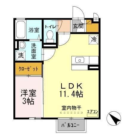 ラヴェスト・コート A 2階の物件の間取図