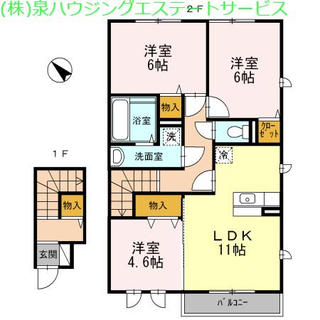 未来 B 2階の物件の間取図