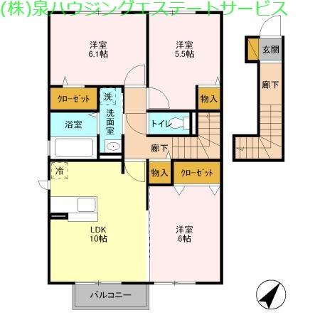 サンライズYAMATO B 2階の物件の間取図