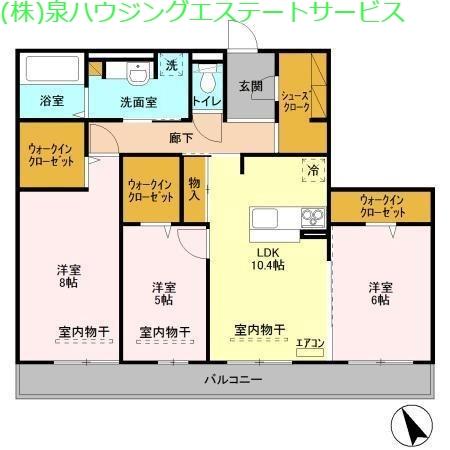 ラ ルーチェ A 2階の物件の間取図