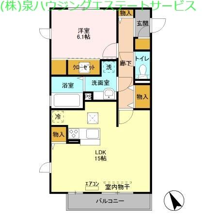 ラ ルーチェ B 1階の物件の間取図