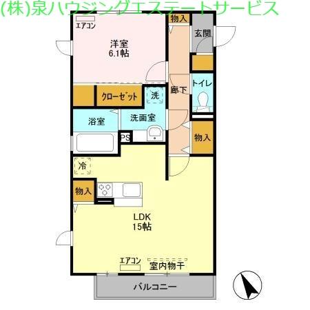 ラ ルーチェ B 2階の物件の間取図