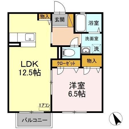 トゥールモントⅠ 2階の物件の間取図
